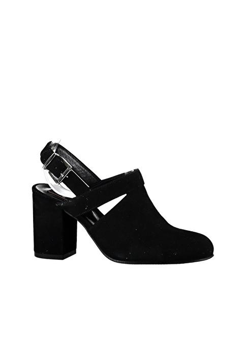 Elle Kalın Topuklu Süet Ayakkabı Siyah